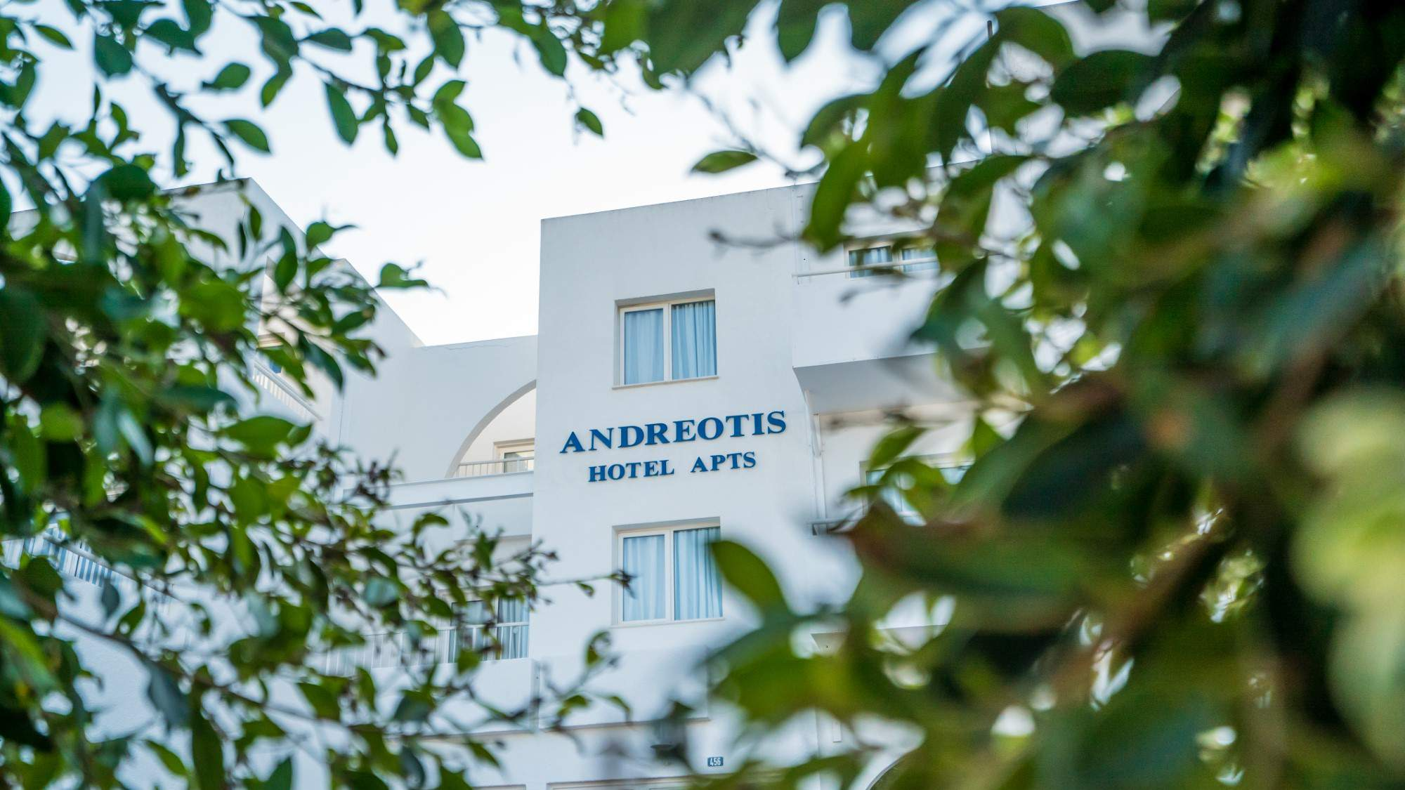 Front, exterior area of andreotis hotel apartments