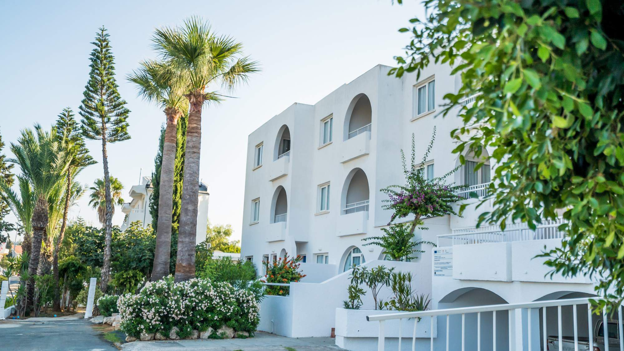 The exterior area of andreotis hotel apartments in protaras